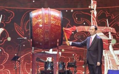 """Staatspräsident Tran Dai Quang nimmt am Programm """"Frühling in der Heimat"""" teil - ảnh 1"""