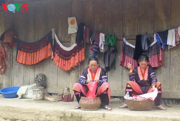 Kunst der Schaffung von Mustern auf traditionellen Trachten der Mong - ảnh 1