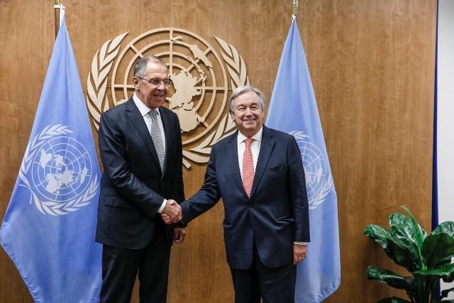 UN-Vollversammlung: UN-Generalsekretär und Russlands Außenminister diskutieren über Konflikte in Syrien und Ostukraine - ảnh 1