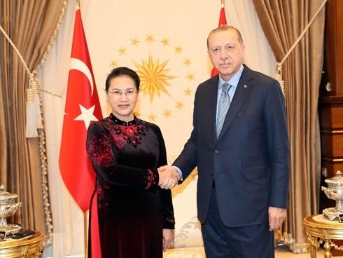 Parlamentspräsidentin Nguyen Thi Kim Ngan führt Gespräch mit dem türkischen Parlamentspräsidenten - ảnh 1