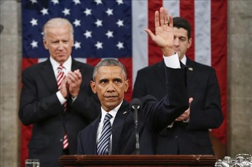 """ประธานาธิบดีสหรัฐ บารัค โอบามาอ่านสุนทรพจน์ """"สเตทออฟเดอะยูเนียน"""" - ảnh 1"""