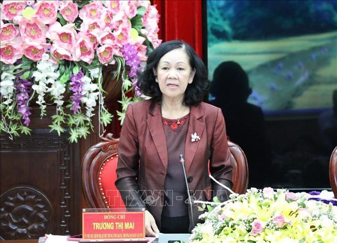 越共中央民运部部长张氏梅与宁平省省委常委座谈 - ảnh 1