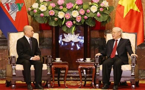 阮富仲会见柬埔寨国王西哈莫尼 - ảnh 1