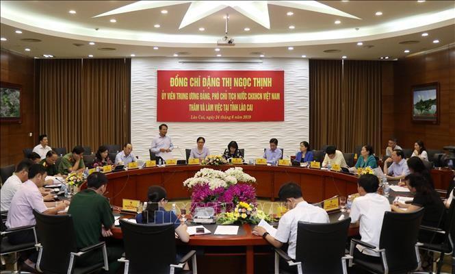 越南国家副主席邓氏玉盛视察老街省 - ảnh 1