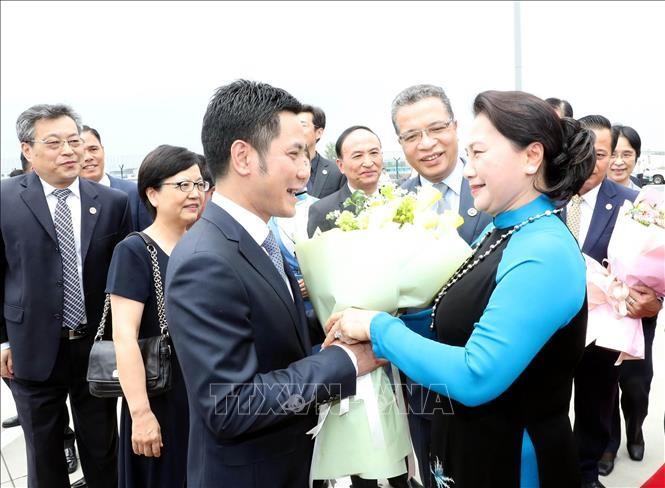 越南国会主席阮氏金银抵达江苏 开始对中国进行正式访问 - ảnh 1
