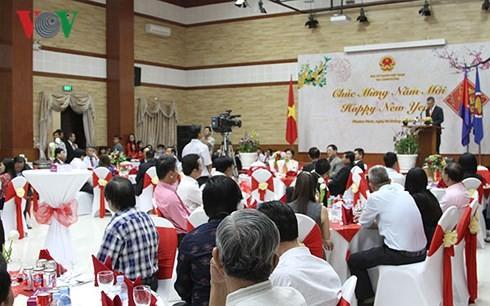 Vietnamesen im Ausland begrüßen Neujahrsfest Tet - ảnh 1
