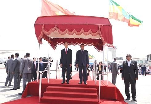 Staatspräsident Tran Dai Quang führt Gespräche mit äthiopischen Präsidenten, Mulatu Teshome - ảnh 1