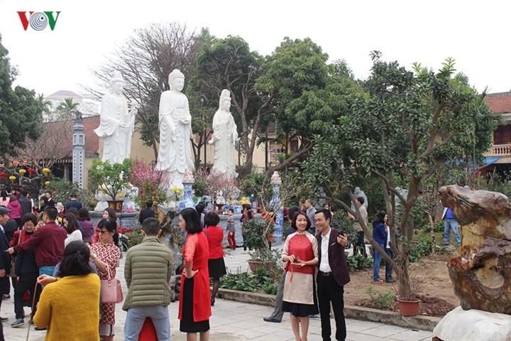 Visitar las pagodas en Año Nuevo Lunar, un hermoso rasgo cultural de los vietnamitas - ảnh 1