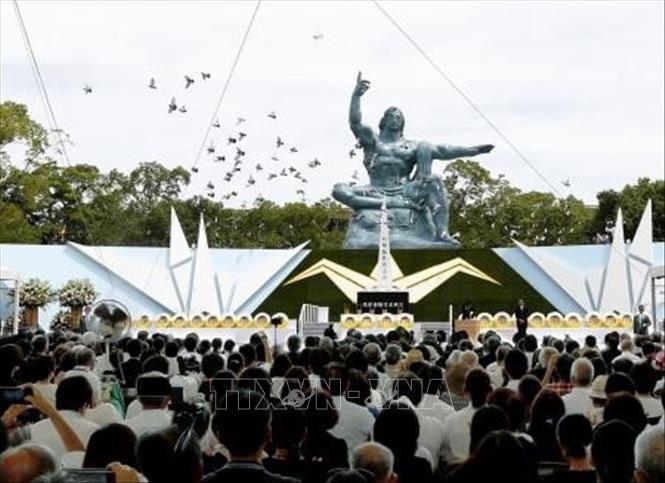 Ciudad japonesa de Nagasaki conmemora los 74 años del bombardeo atómico - ảnh 1