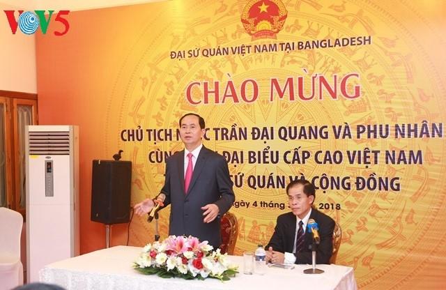 Tran Dai Quang주석, 동부인으로 방글라데시 인민공화국 방문 - ảnh 3