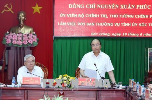 응원 쑤언 푹 (Nguyen Xuan Phuc)총리 Soc Trang성 핵심 지도자와 면담 - ảnh 1