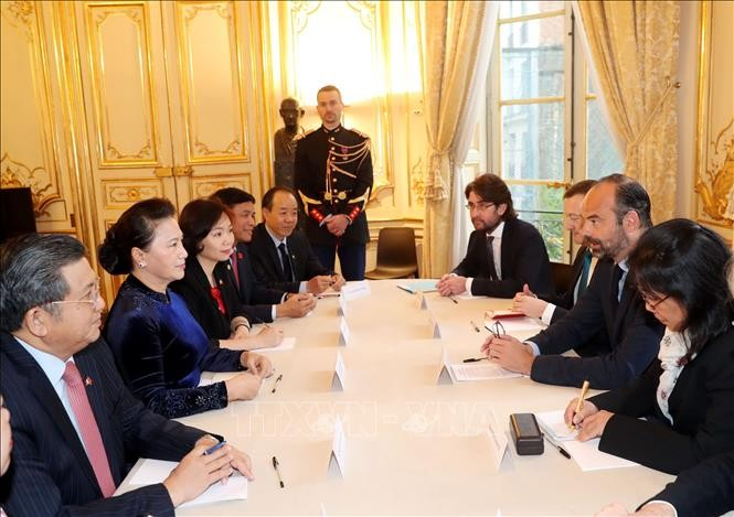 응우옌 티 낌 응언 (Nguyễn Thị Kim Ngân) 국회의장, 에두아르 필리프 (Edouard Philippe) 프랑스 총리 접견 - ảnh 1