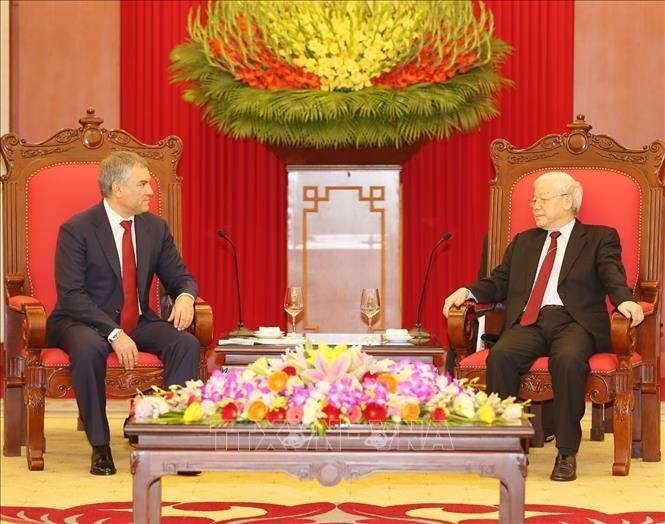 Le président de la Douma d'État russe reçu par Nguyên Phú Trong - ảnh 1