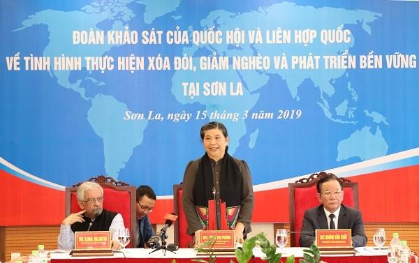 Tong Thi Phong supervise la réduction de la pauvreté à Son La - ảnh 1