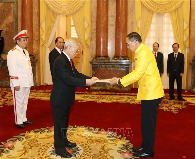 Le président Nguyên Phu Trong reçoit de nouveaux ambassadeurs  - ảnh 1