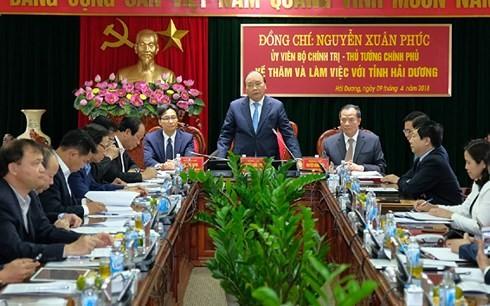 응웬 쑤안 푹 베트남 국무총리,  하이즈엉시 관리자와 회의    - ảnh 1