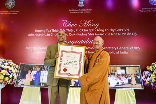 틱득티엔 상좌, 인도정부의 Padma Shri훈장을 수상한 첫 베트남 사람 - ảnh 1