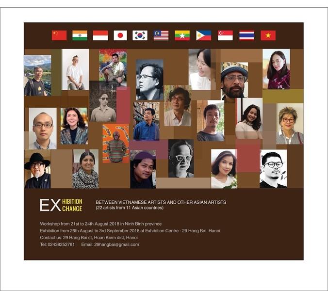 아시아 국가들 예술가들과 베트남 예술가들 간의 2018년 미술교류 - ảnh 1