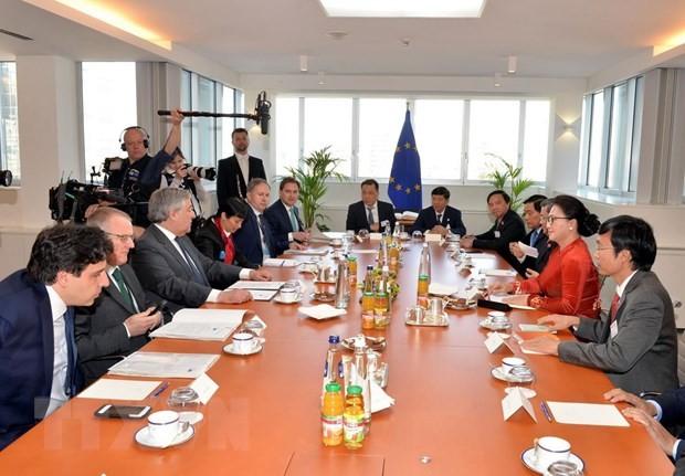 응우옌 티 낌 응언 국회 의장, 유럽의회 의장과 회담 - ảnh 2