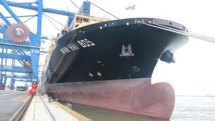 하이퐁 국제컨테이너터미널,역대 가장 큰 선박인 적재량 13만 2천 톤의 만해항운(Wan Hai) 805 맞이 - ảnh 1