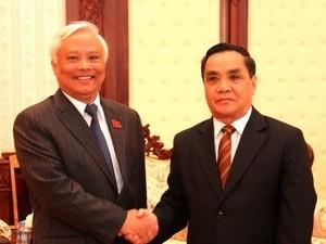 Pemimpin Partai dan Negara RDR Laos  menerima Wakil Ketua MN Vietnam Uong Chu Luu - ảnh 1