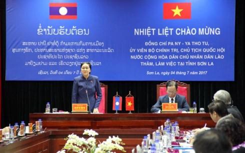 Глава парламента Лаоса находится во вьетнамской провинции Шонла с рабочим визитом - ảnh 1