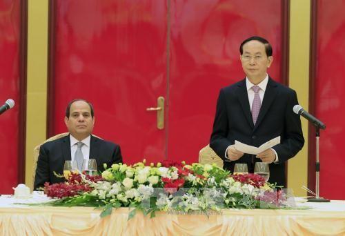 Президент Вьетнама устроил торжественный прием в честь египетского коллеги - ảnh 1