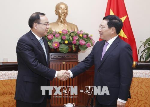 Вице-премьер, глава МИД СРВ Фам Бинь Минь принял мэра китайского города Чунцин - ảnh 1