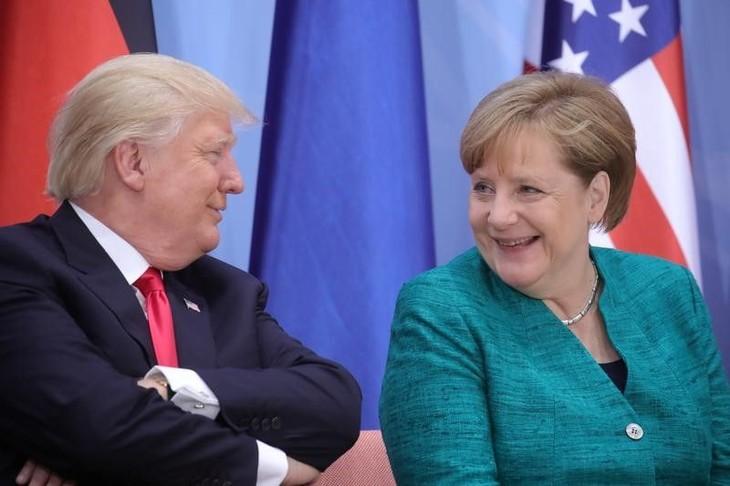 Trump a félicité Merkel pour sa victoire - ảnh 1