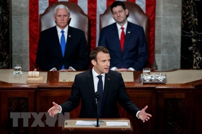 Devant le Congrès américain, Emmanuel Macron plaide pour l'environnement et la diplomatie - ảnh 1