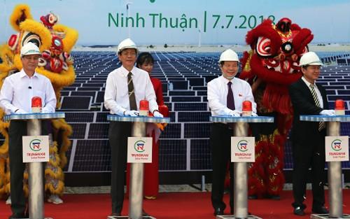 Pose de la première pierre de la plus grande centrale solaire du Vietnam      - ảnh 1