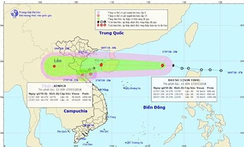 Bão Sơn Tinh - Bão số 3 cách bờ biển Hải Phòng-Hà Tĩnh khoảng 270km - ảnh 1