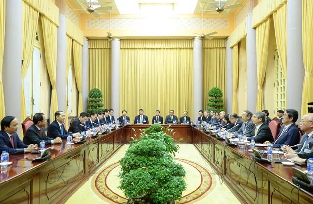 Chủ tịch nước Trần Đại Quang tiếp đoàn Ủy ban Kinh tế Nhật - Việt Keidanren - ảnh 2