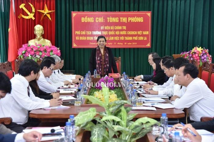 Phó Chủ tịch Thường trực Quốc hội Tòng Thị Phóng làm việc với thành phố Sơn La - ảnh 1