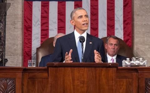 """ประธานาธิบดีสหรัฐอ่านสุนทรพจน์ """" สเตทออฟเดอะยูเนียน"""" - ảnh 1"""