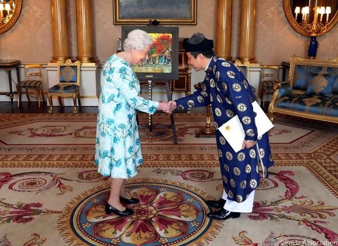 เอกอัครราชทูตเวียดนามประจำประเทศอังกฤษเข้ายื่นสาส์นตราตั้งต่อสมเด็จพระราชินีนาถเอลิซาเบธที่ 2  - ảnh 1