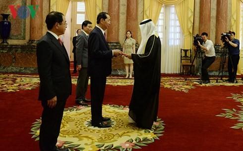 ประธานประเทศเจิ่นด่ายกวางให้การต้อนรับเอกอัครราชทูตที่เข้ายื่นสาสน์ตราตั้ง - ảnh 1