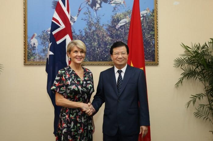 รองนายกรัฐมนตรีจิ่งดิ่งหยุงให้การต้อนรับรัฐมนตรีว่าการกระทรวงการต่างประเทศออสเตรเลีย - ảnh 1