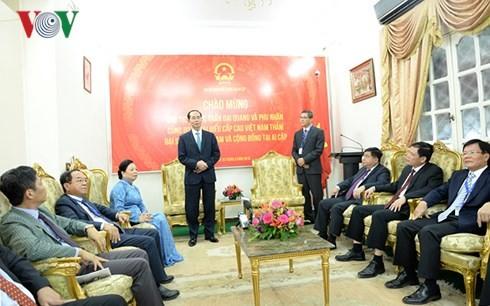 ประธานประเทศเจิ่นด่ายกวางพบปะกับเจ้าหน้าที่พนักงานสถานทูตเวียดนามประจำอียิปต์ - ảnh 1