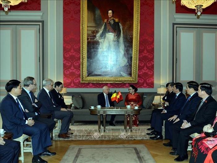 ประธานสภาแห่งชาติเหงวียนถิกิมเงินพบปะกับประธานวุฒิสภาเบลเยียม Jacques Brotchi - ảnh 1