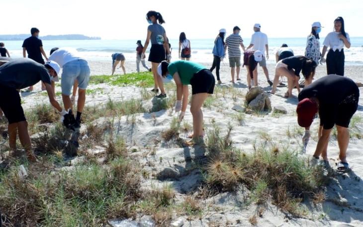 เยาวชนชาวเวียดนามโพ้นทะเลเข้าร่วมกิจกรรมทำความสะอาดเขตทะเลในจังหวัดกว๋างหงาย - ảnh 1